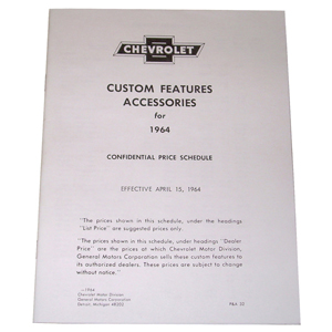 1964 Custom features booklet