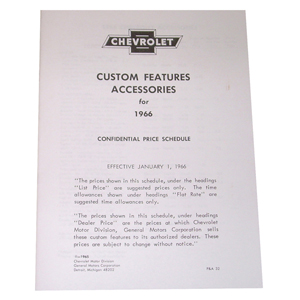1966 Custom features booklet