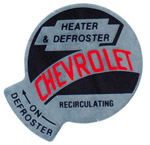 1955-1959 Factory heater decal