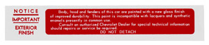 1954-1962 Paint warning decal