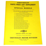 1936-1942 Price list supplement and part numbers for special models