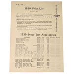 1939 Accessory listing