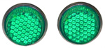 1936-1991 Reflector license fasteners with green plastic lenses